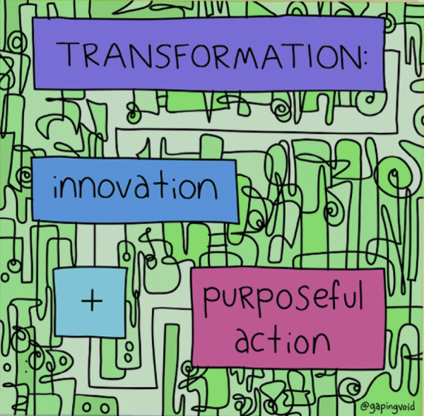 Transformation Equals Innovation Plus Purposeful Action_GapingVoid